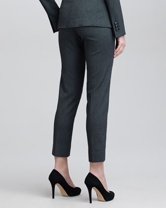 Cropped Check Flannel Suit Pants, Steel