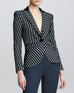 Armani Collezioni One-Button Striped Jacket, Silver