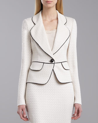 Cobblestone Tweed Peplum Jacket, Porcelain