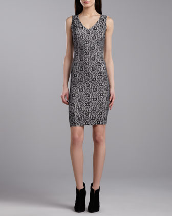 V-Neck Sleeveless Dress, Caviar/Porcelain
