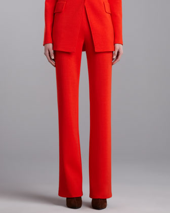 Milano Knit Straight-Leg Pants, Flame
