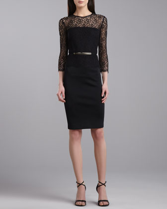 Milano Lace Jewel-Neck Dress, Caviar