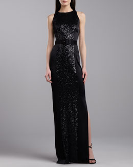 St. John Collection Sequined Sleeveless Gown, Caviar