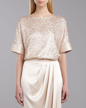 Sequined Tulle Top, Porcelain