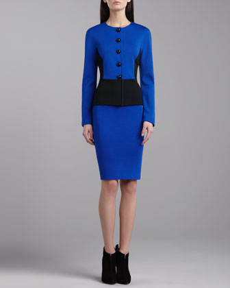 Milano Knit Pencil Skirt, Vivid Blue