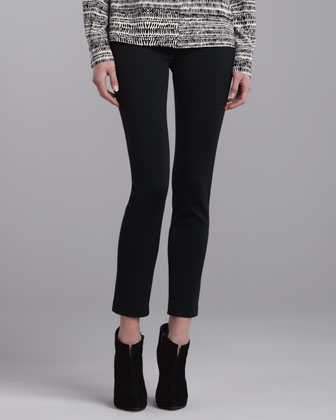 Milano Knit Slim Ankle Pants, Caviar