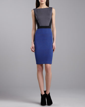 Milano Sleeveless Colorblock Dress, Caviar/Pewter/Blue