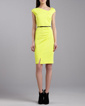 Milano Asymmetric Dress, Neon Yellow
