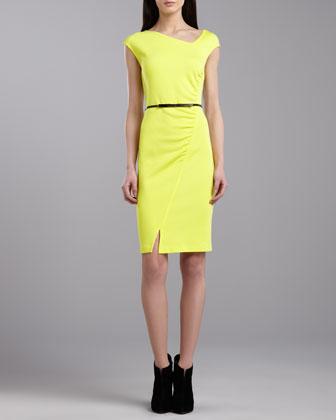 Milano Asymmetric Dress, Neon Yellow