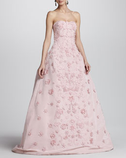Oscar de la Renta Strapless Floral-Applique Ball Gown