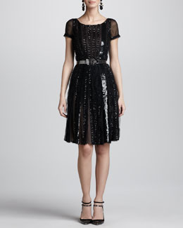 Oscar de la Renta Beaded Lace-Detail Dress