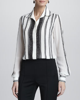 Oscar de la Renta Lace-Embellished Long-Sleeve Silk Blouse