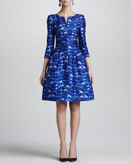 Oscar de la Renta Darted Feather-Print Dress