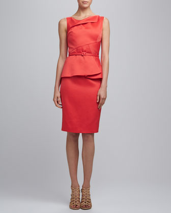 Jewl Neck Slim Dress with Belt