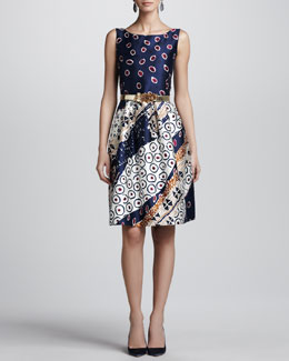 Oscar de la Renta Collage-Print Satin Dress, Navy/White