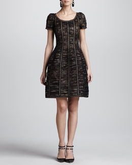 Oscar de la Renta Floral Chantilly Lace Dress, Black