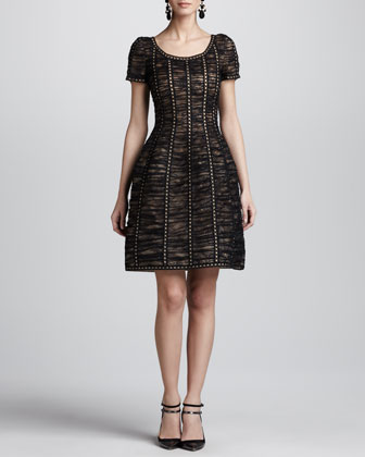 Floral Chantilly Lace Dress, Black