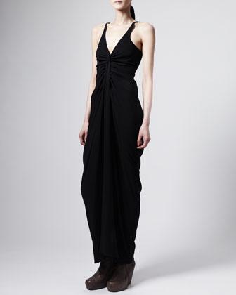 Tapered-Skirt Long V-Neck Dress