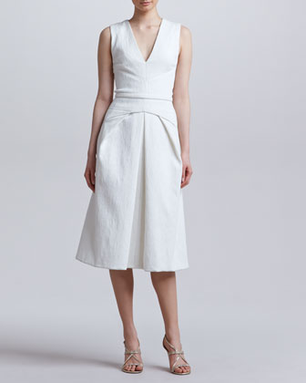 Folded V-Neck Dress, Snow