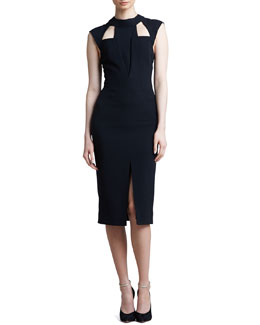 J. Mendel Cutout Cap-Sleeve Dress, Black