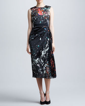 Splatter-Print Cady Dress, Black/Multicolor