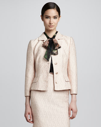 Fitted Jacquard Jacket, Powder Pink