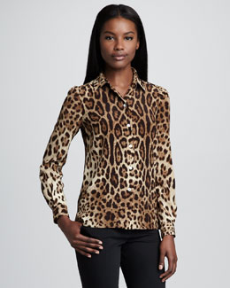 Dolce & Gabbana Leopard-Print Silk Button-Up Blouse