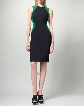 Contour Colorblock Sheath Dress, Black/Green