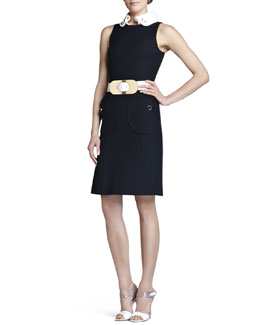 Michael Kors  Contrast-Collar Belted Dress
