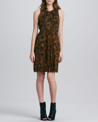 Zip-Front Leopard-Print Mulberry Silk Dress