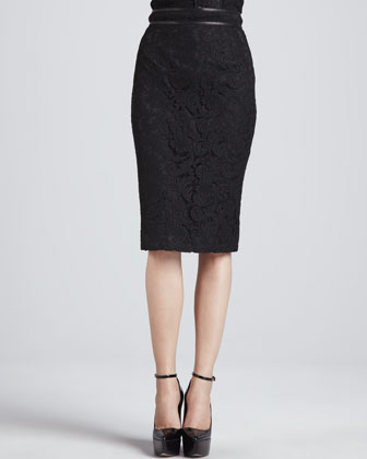 Leather-Waist Lace Pencil Skirt