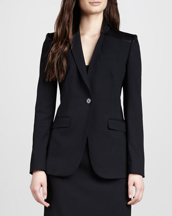 Leather-Trim Tailored Jacket