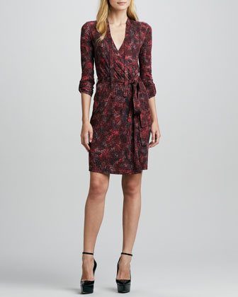 Leopard-Print Tab-Sleeve Wrap Dress, Deep Claret