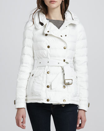 Belted Puffer Trench with Hood