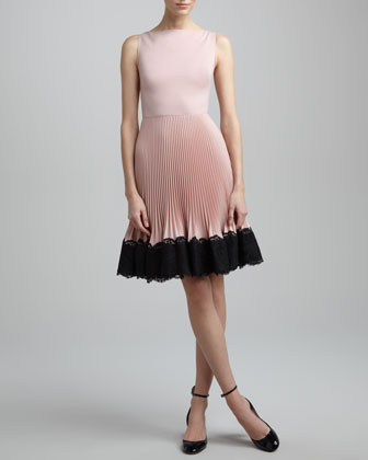 Lace-Trim Plisse Dress, Rose