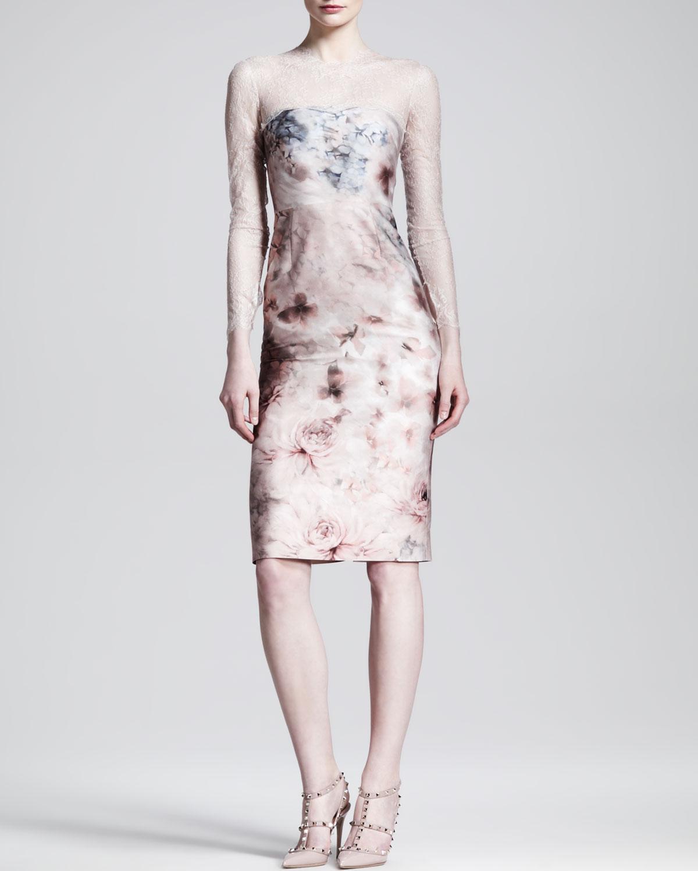 Womens Fluid Garden Floral Print Lace Top Dress   Valentino   Light (8)