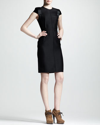 Velvet-Sleeve Sheath Dress