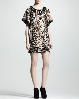 Embellished Leopard-Print Shift Dress
