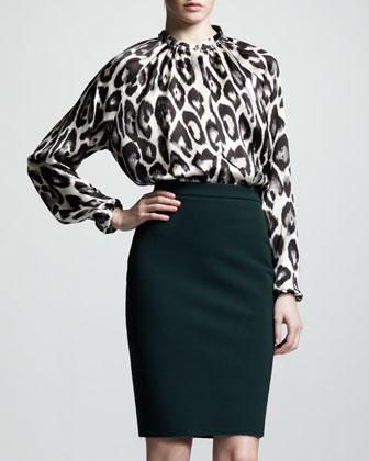 High-Waist Back-Zip Pencil Skirt, Vert Anglais