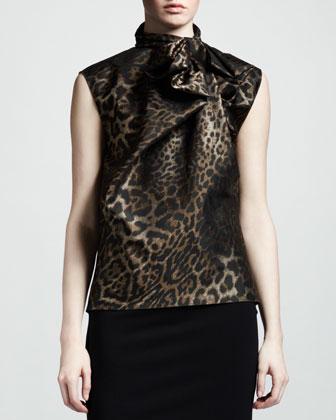Leopard-Jacquard Bow Blouse
