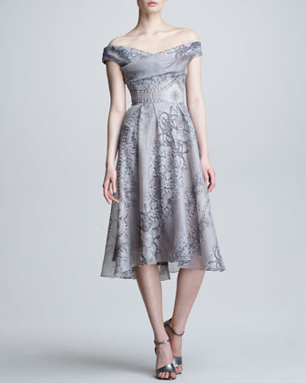 Lace & Pearl Printed Silk Dress