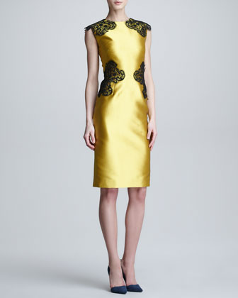 Placed Lace Satin Sheath Dress