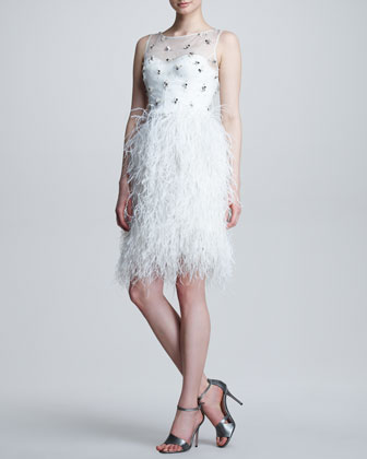Embroidered Feather-Skirt Dress