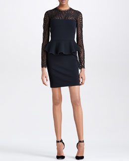 Emilio Pucci Punto Milano Peplum Lace-Yoke Dress