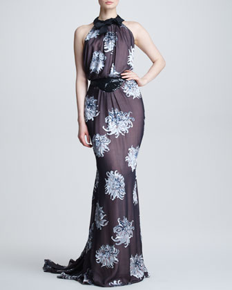 Dahlia Devore Silk Gown, Black/Blue/Multicolor