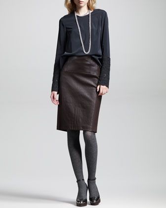 Leather Flannel-Back Skirt