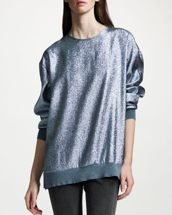 Metallic Sweatshirt, Wedgewood