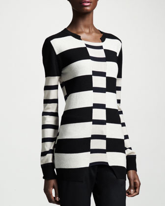 Block-Stripe Knit Top