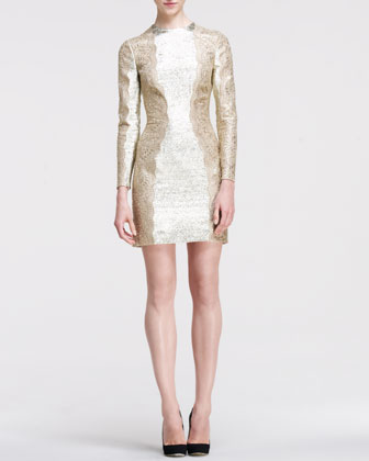 Metallic Long-Sleeve Lace-Side Dress