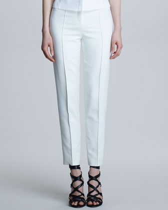 High-Waist Stovepipe Pants, Bone
